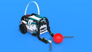 Image Description of Tricky - a LEGO Mindstorms Robot Inventor 51515 with a basketball attachment