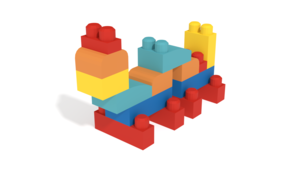 Image Description of Caterpillar form Mega Bloks as 3D model with instructions