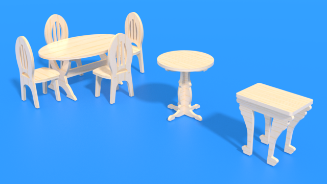 Image for Laser cut Mini Furniture for a Living Room in 3D assembly instructions