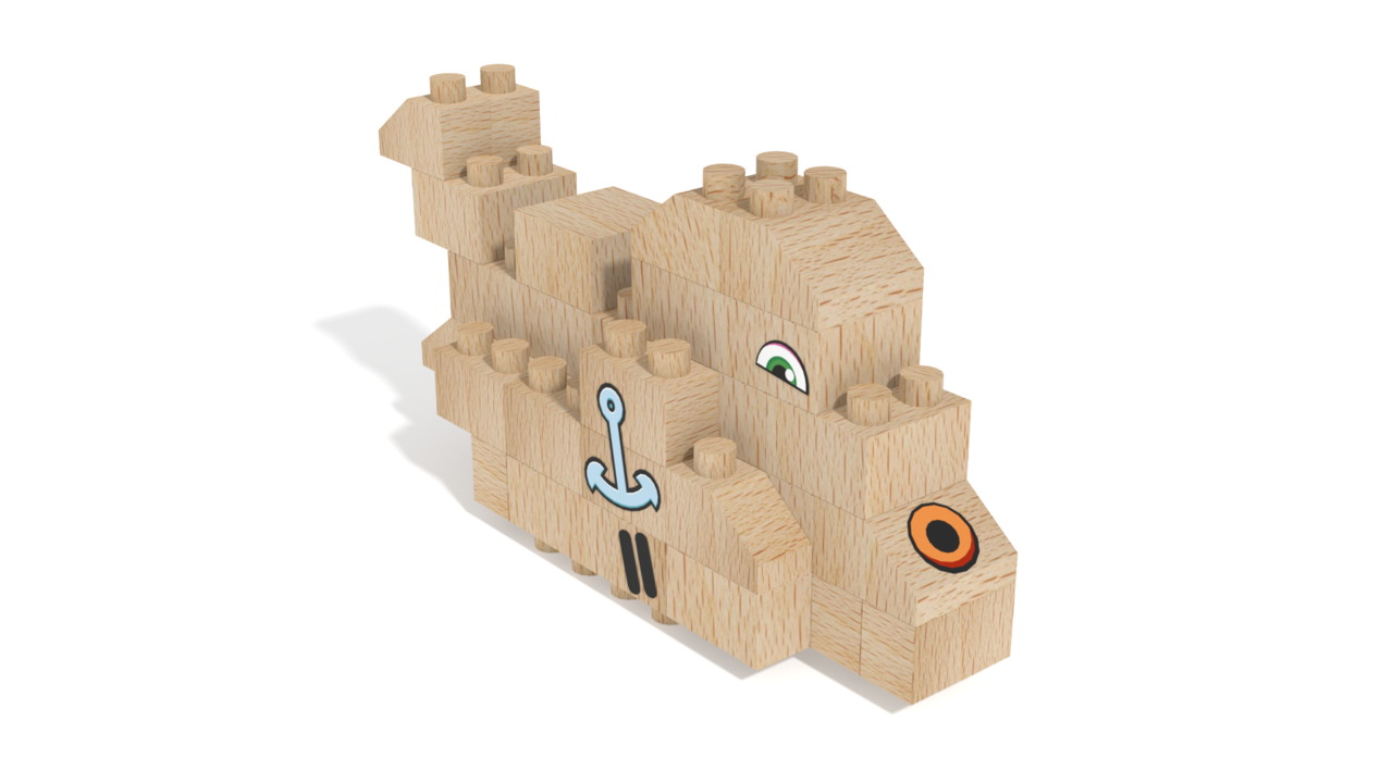 Image for FabBRIX Sea Animals, Whale in 3D building instructions
