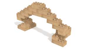 Image Description of Holznoppi, Arch, made of pine wood in 3D building instructions