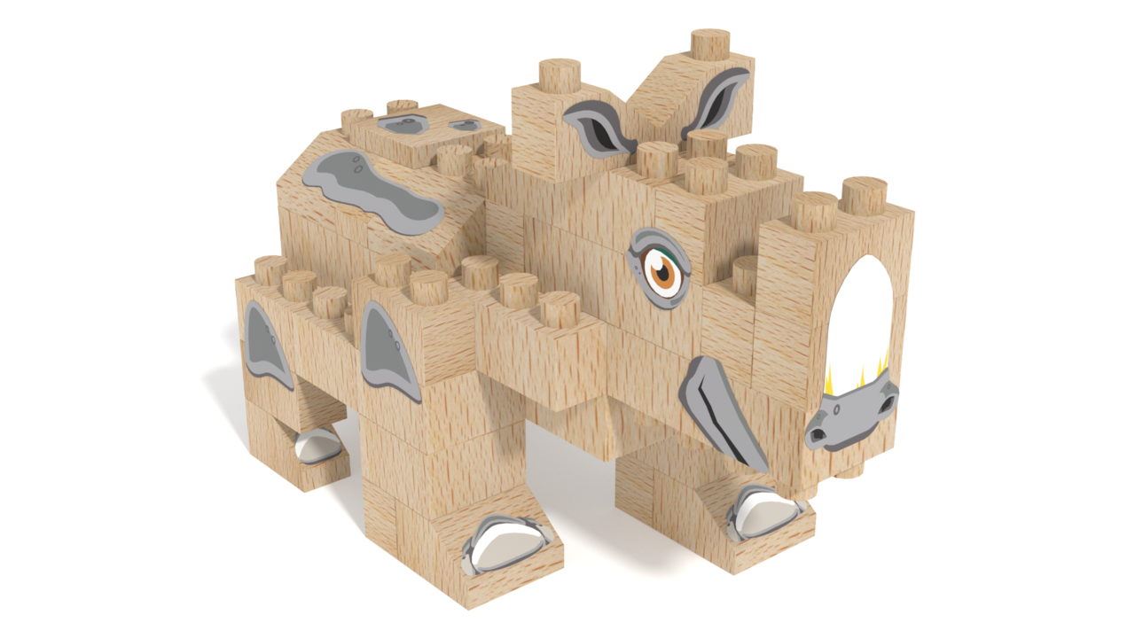 Image for FabBRIX WWF, Rhinoceros in 3D building instructions