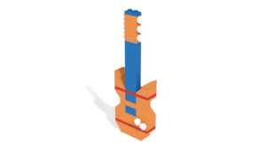 Image Description of Mega Construx, Guitar - Vibrant Box of Blocks 130 pices in 3D building instructions