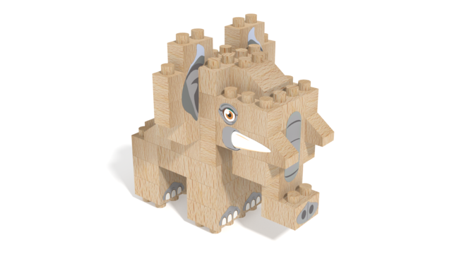 Image for FabBRIX WWF, Elephant in 3D building instructions