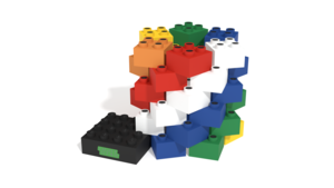 Image Description of Omq building instructions, this thing made with Ligth Stax Illuminated Blocks